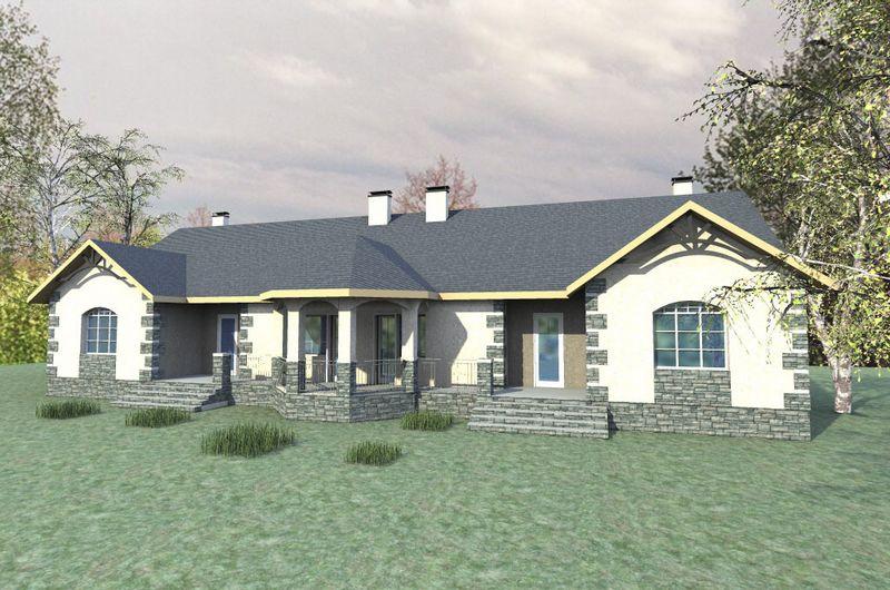 Дублет E-034 с видеообзором. Проект одноэтажного дома на две семьи