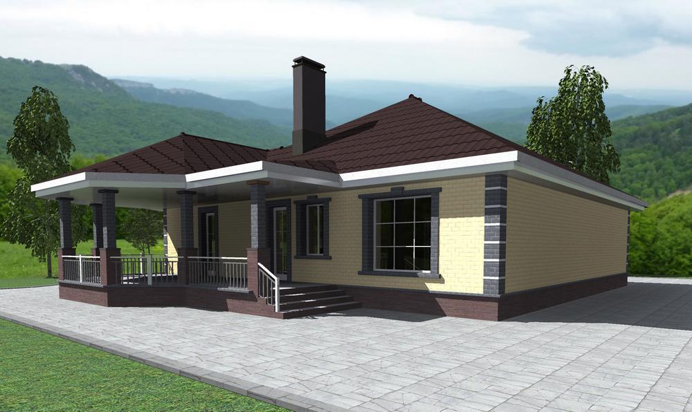 Дядюшка Том C-221. Проект одноэтажного дома с 2 спальнями, круглым холлом и террасой