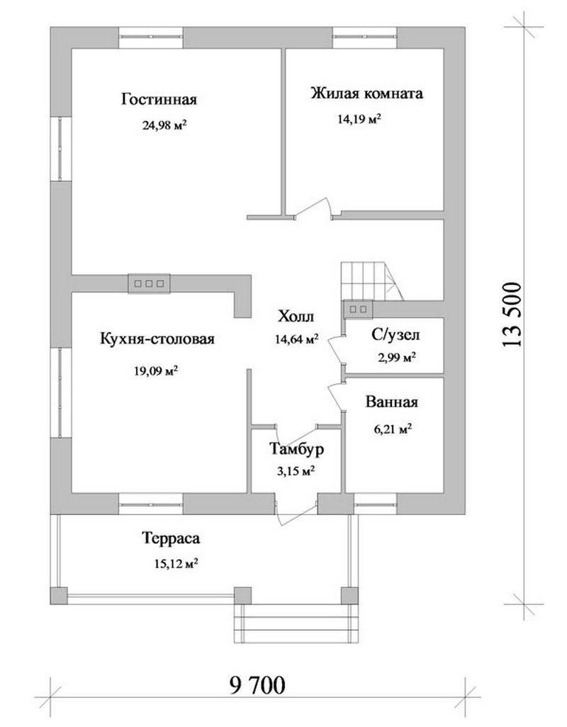 Джезим C-099. Проект мансардного коттеджа с террасой, на 3 спальни