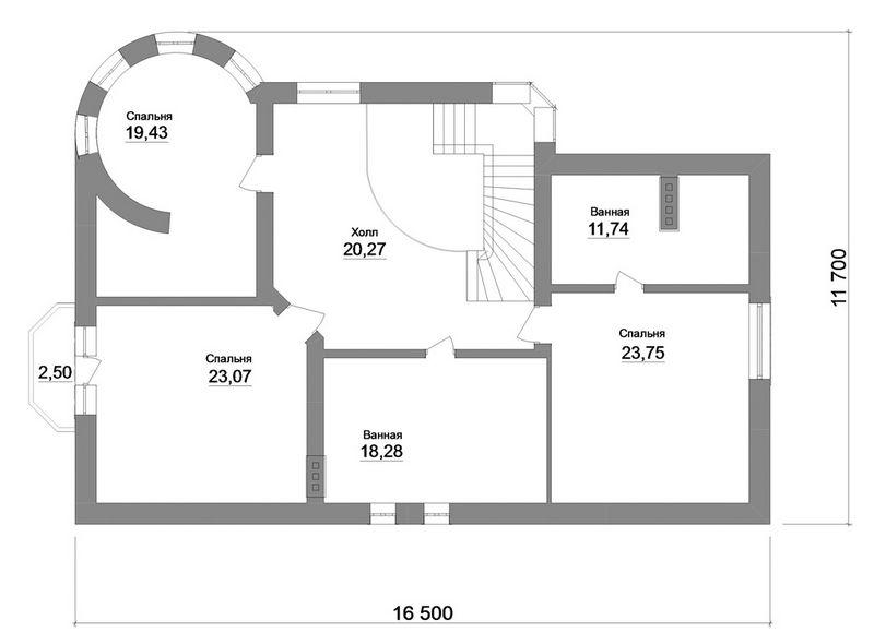 Эдинбург E-036. Проект большого мансардного коттеджа на 4 спальни