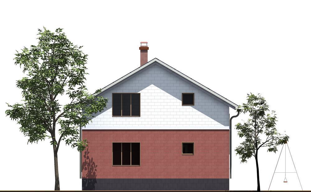 Эфсун B-162. Проект дома с мансардой, на 2 спальни, с угловой террасой, балконом и зимним садом
