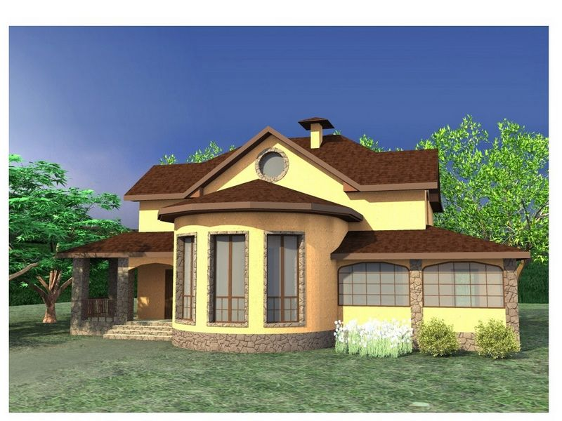 ЭКВАТОР C-194. Проект двухэтажного коттеджа на 4 спальни, с террасой и зимним садом
