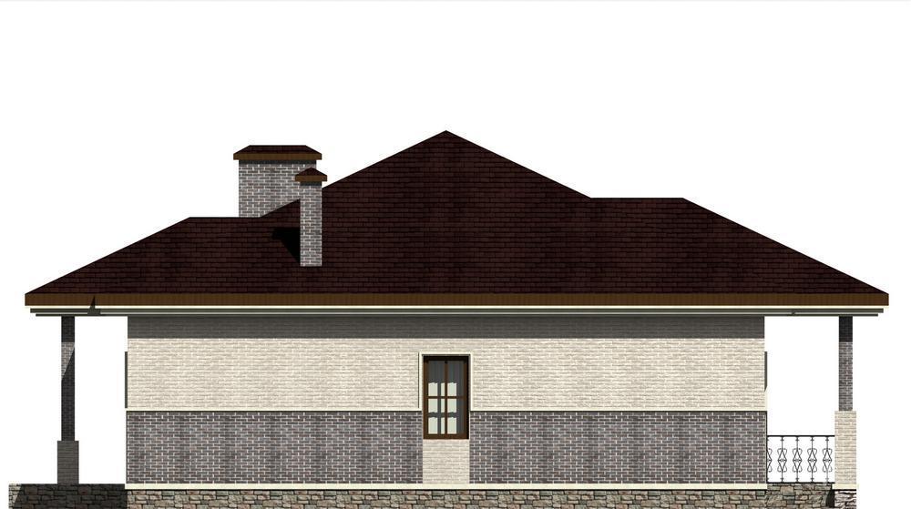 Елань C-219. Проект одноэтажного дома с двумя спальнями, террасой