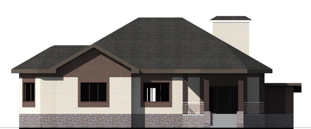 Эмпат F-076. Проект большого одноэтажного коттеджа с цоколем, террасой и пристроенным гаражом на 2 авто
