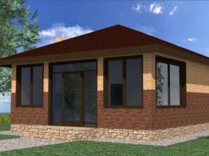 Энигма G-064. Проект летнего домика с парилкой и террасой