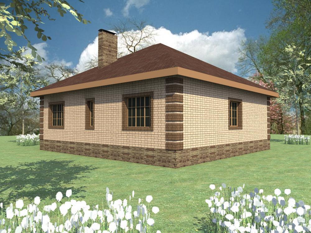 Эпиграф B-091. Проект простого одноэтажного дома на 3 спальни