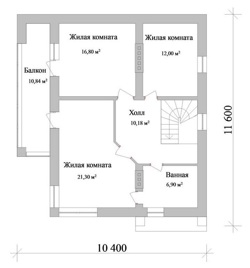 Ериас C-104. Проект двухэтажного дома на 3 спальни, с террасой и балконом