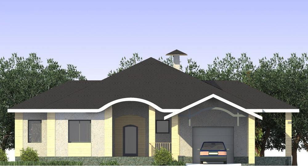 Эрих C-203. Проект одноэтажного дома с террасой и пристроенным гаражом