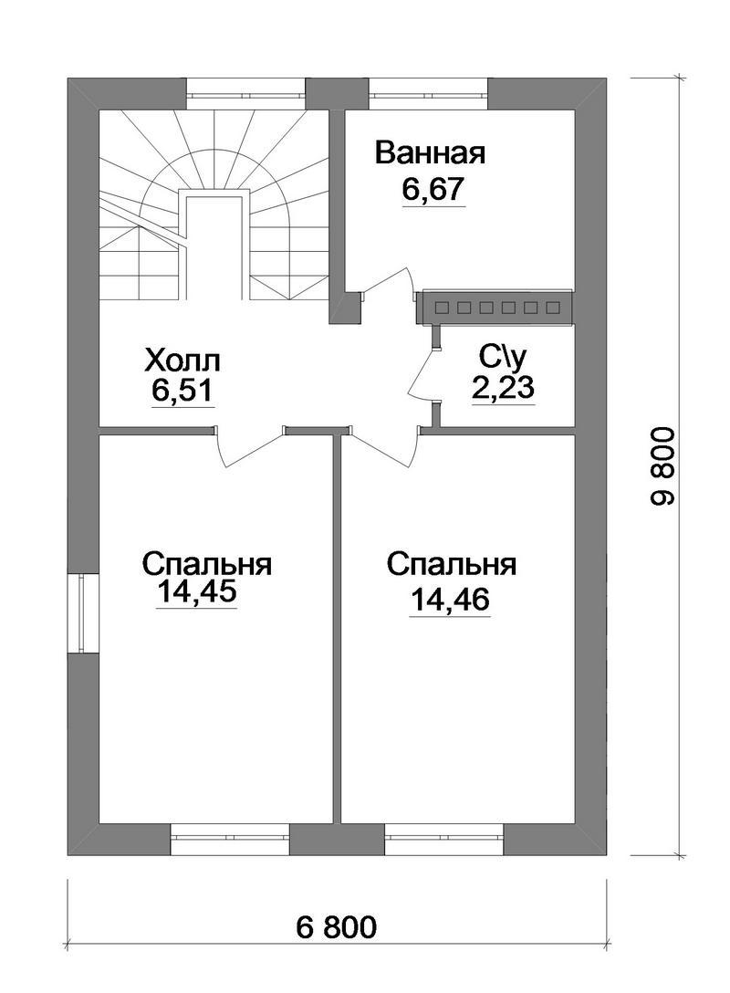 Эрстон B-213. Проект мансардного дома на 2 спальни, с террасой и навесом для авто