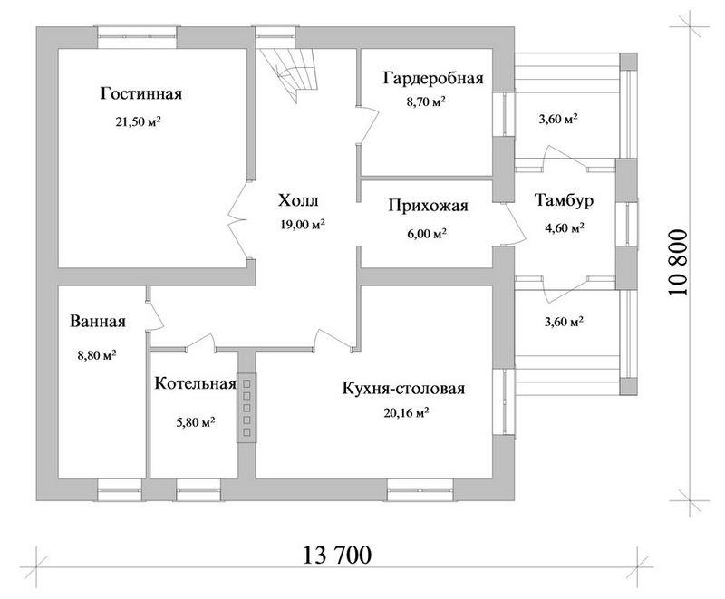 Эрвиг C-100. Проект мансардного коттеджа на 3 спальни, с кабинетом