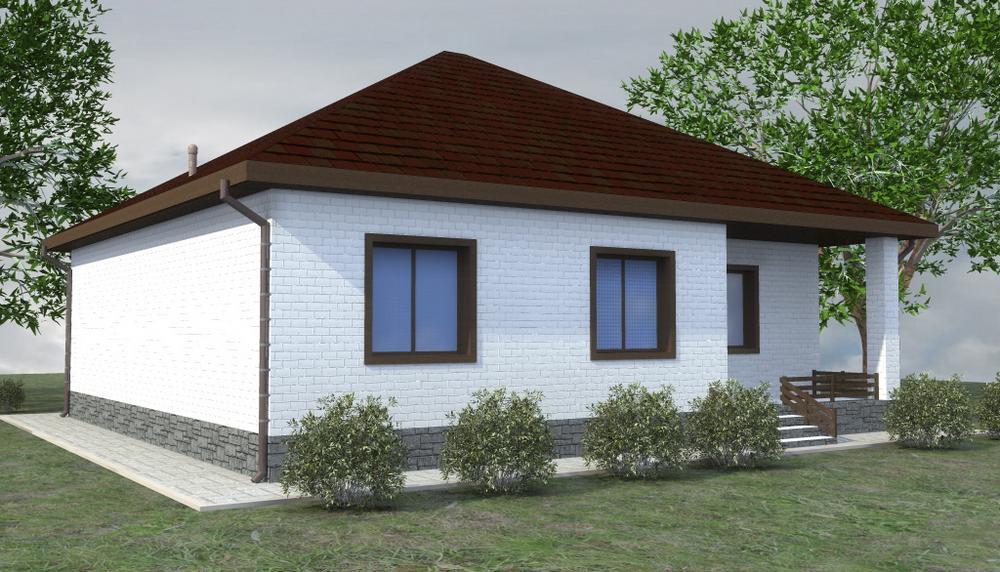 Евграф B-256. Проект одноэтажного дома с тремя спальнями и небольшой террасой