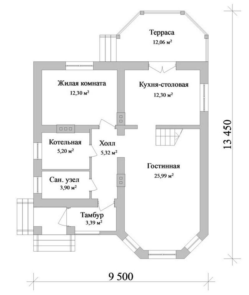 Фагот B-093. Проект дома с мансардой, террасой, на 3 спальни