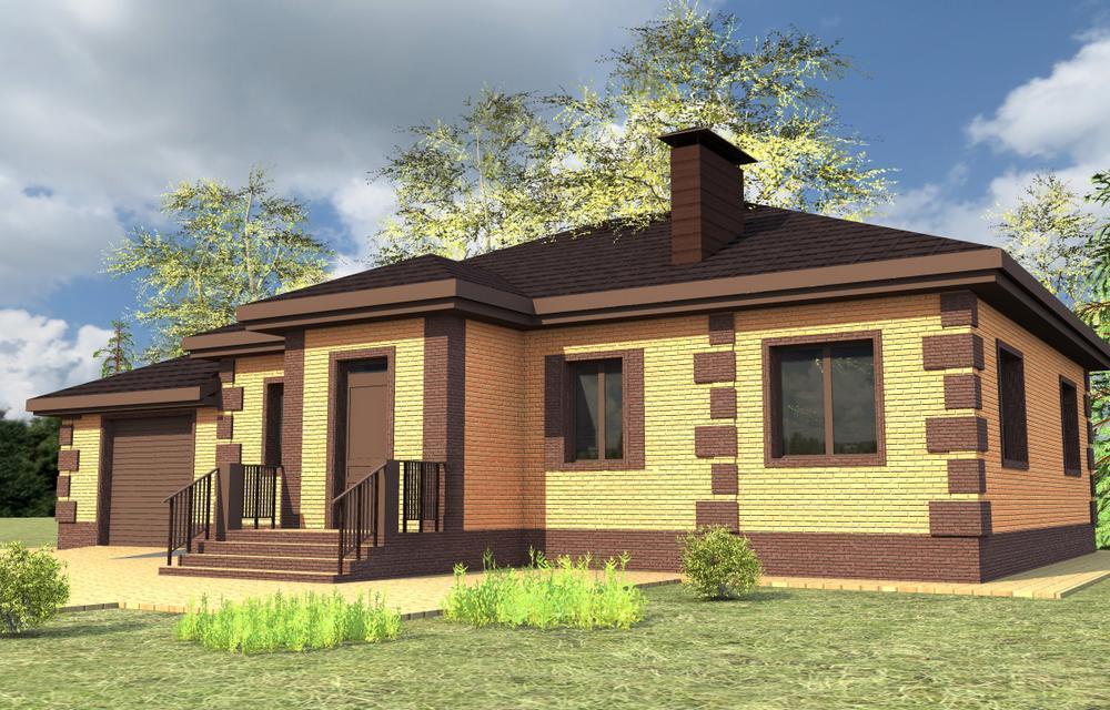 Фаворит B-232. Проект одноэтажного дома на три спальни, с пристроенным гаражом