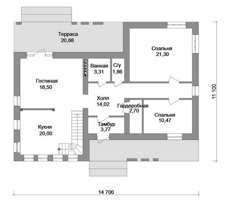 Фазотрон C-178. Проект современного двухэтажного дома на 3 спальни, с террасой