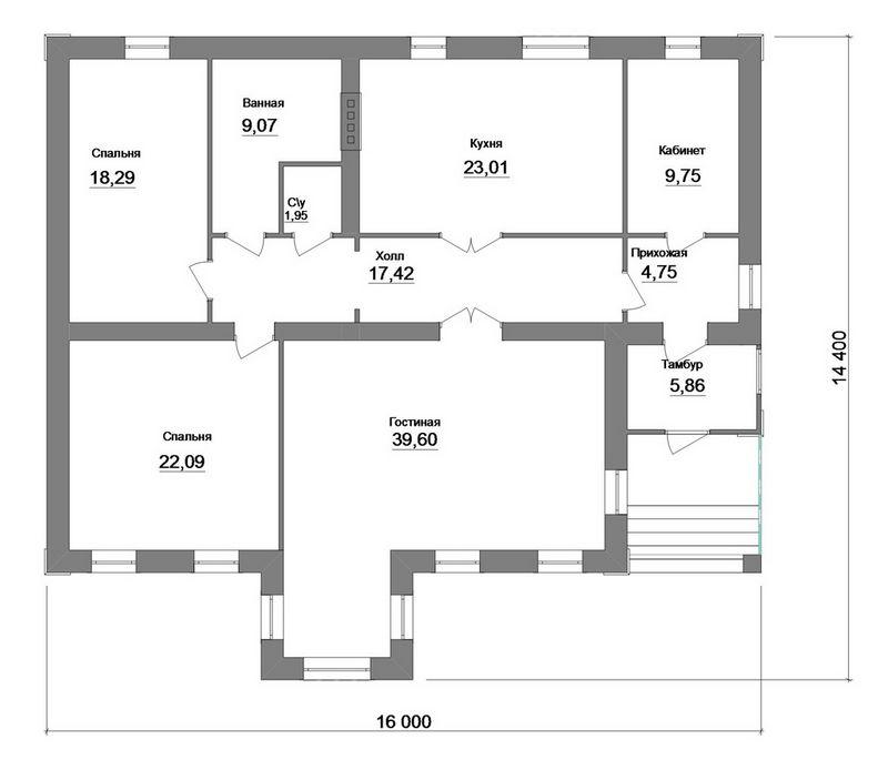Феррум C-166. Проект одноэтажного дома с двумя спальнями, кабинетом и большой гостиной
