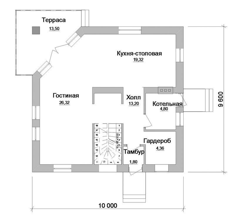 Фидбэк C-121. Проект мансардного коттеджа на 3 спальни, с террасой