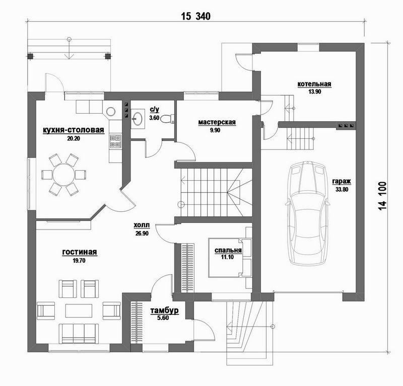 ФИКС D-080. Проект стильного мансардного дома на 4 спальни, с гаражом