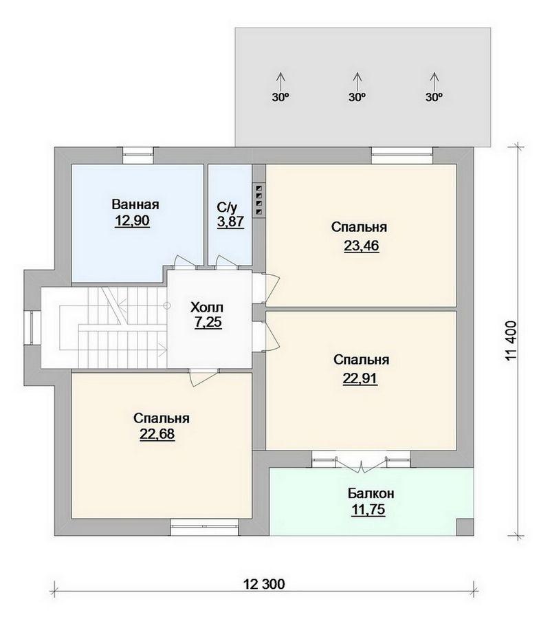 Филиппа D-092. Проект мансардного дома на 3 спальнями с террасой и навесом для авто