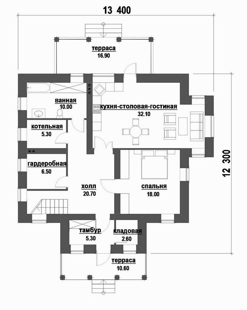 Фёрст D-086. Проект одноэтажного дома с мансардой и четырьмя спальнями