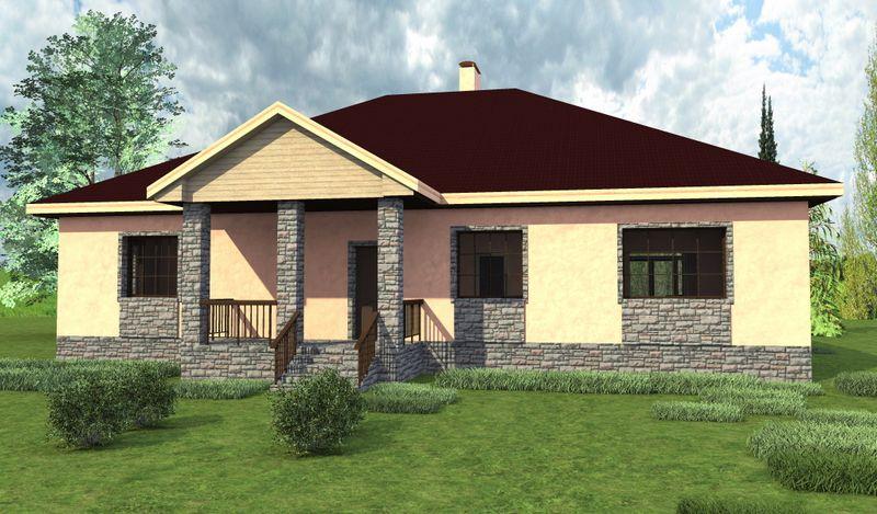 Флеминг C-208. Проект одноэтажного дома с улучшенной планировкой: 3 спальни, кабинет, терраса