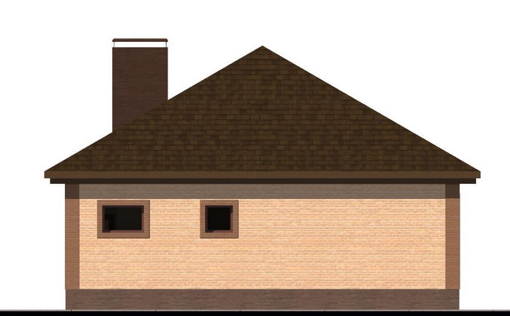 Флорида B-251. Проект одноэтажного дома с двумя спальнями и террасой перед домом