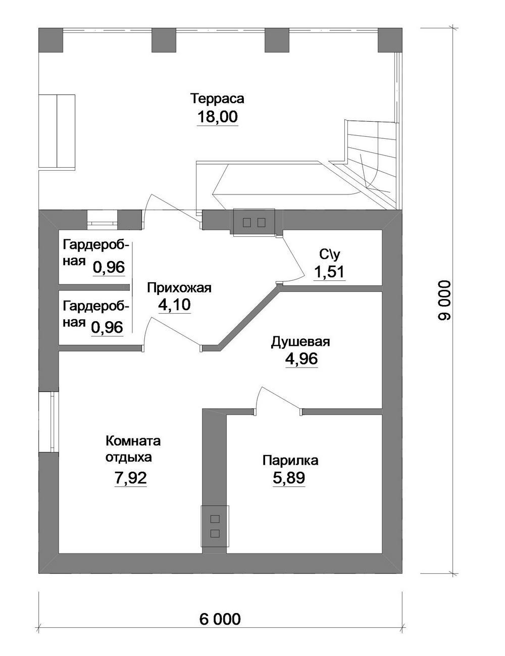 Fly G-056. Проект летнего домика с баней, комнатой отдыха и террасой