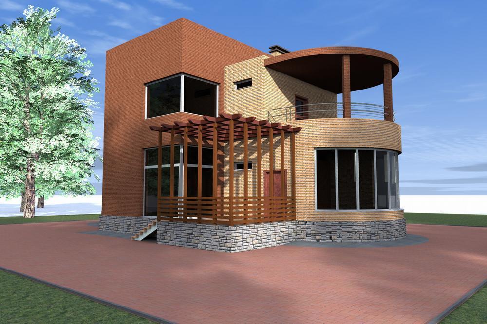 Фок E-027. Проект современного двухэтажного дома с цокольным этажом, террасой, на 3 спальни