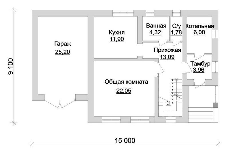 ФОРЕСТ B-132. Проект мансардного дома с мансардой на 2 спальни, с пристроенным гаражом
