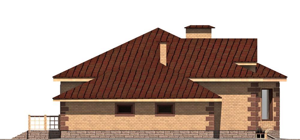 Форзац C-170. Проект одноэтажного дома с гаражом, террасой, на 3 спальни