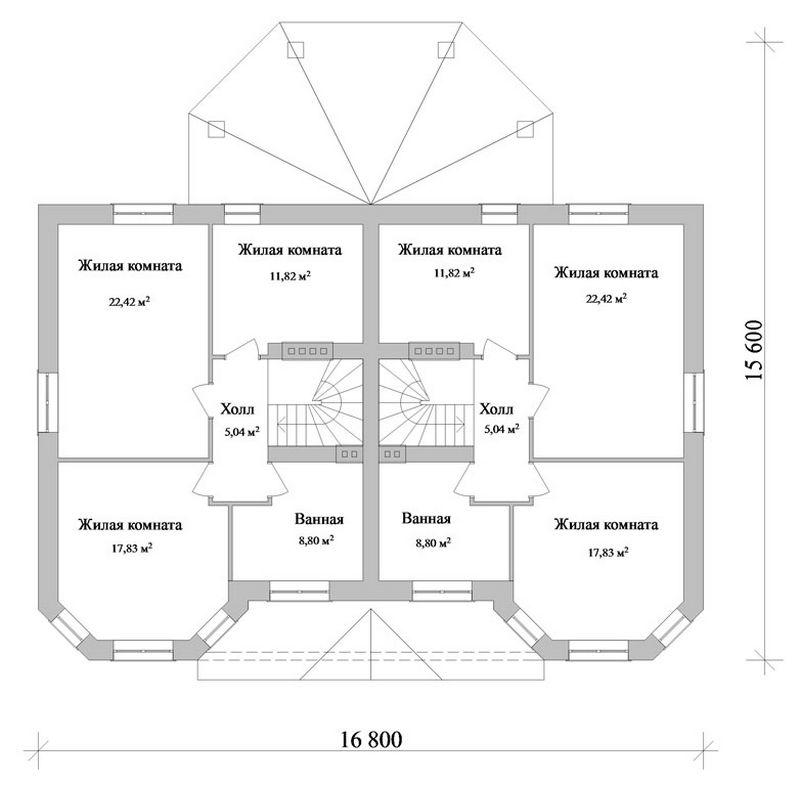 Фронт F-041. Проект большого дома с террасой на две семьи