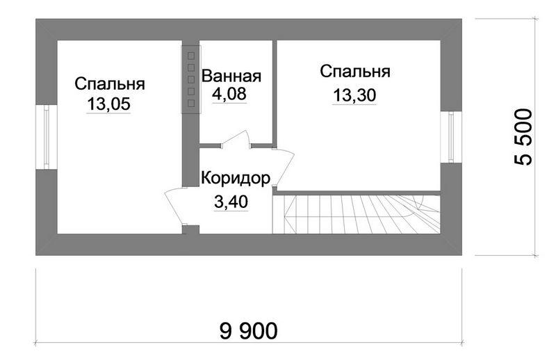 ФРУТ A-053. Проект маленького коттеджа с мансардой на 3 спальни с террасой