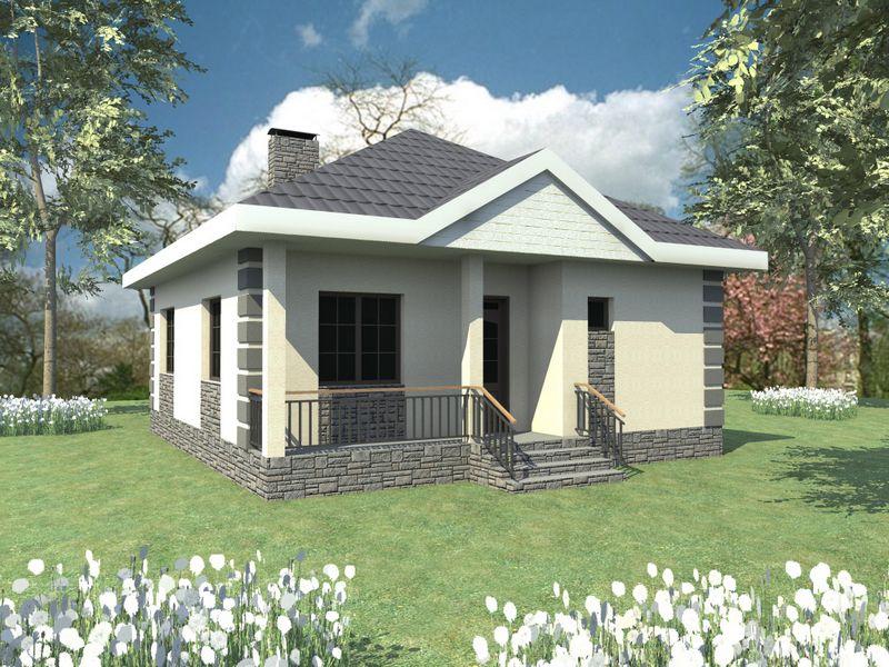 Гай A-032. Проект одноэтажного дома с одной спальней