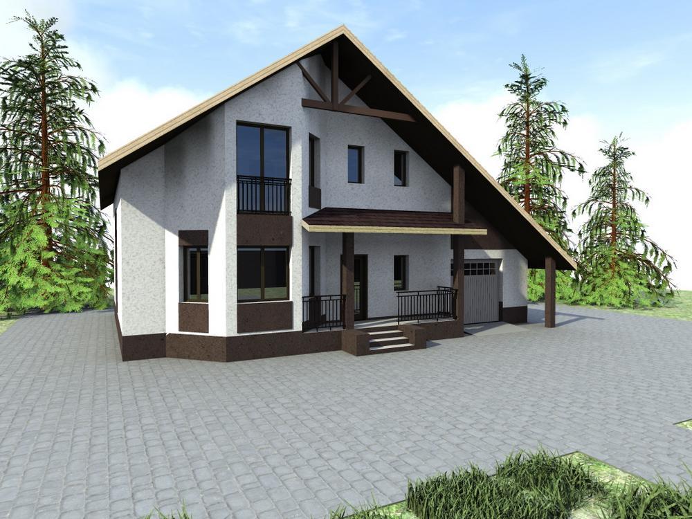 Галахад C-162. Проект дома с мансардой, на 3 спальни, с большим кабинетом и гаражом