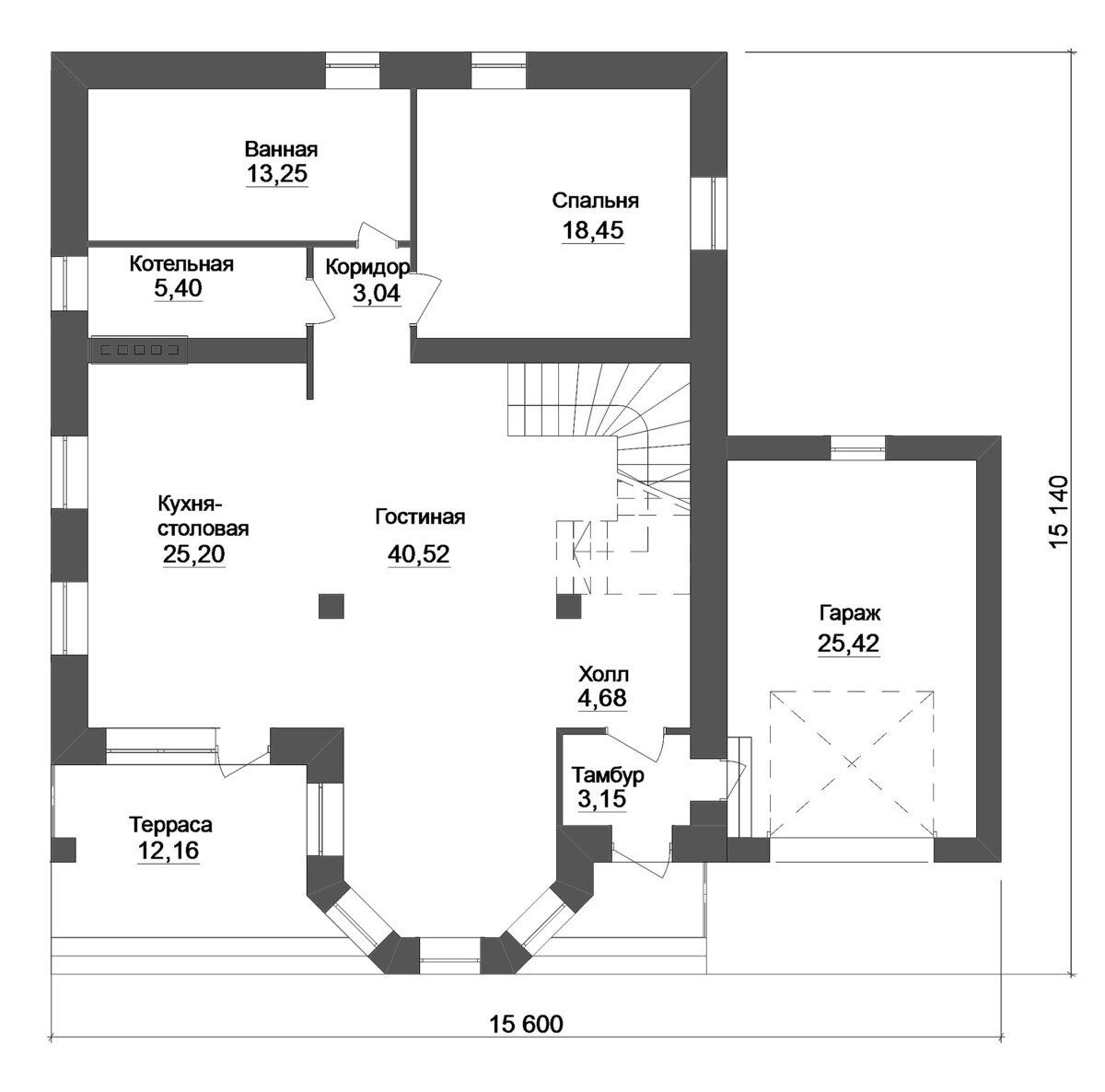 Галий D-101. Проект дома с мансардой, четырьмя спальнями и гаражом