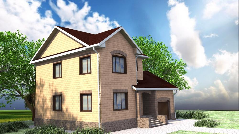 Гармония D-114. Проект двухэтажного дома с цокольным этажом, на 3 спальни, с гаражом и подвалом