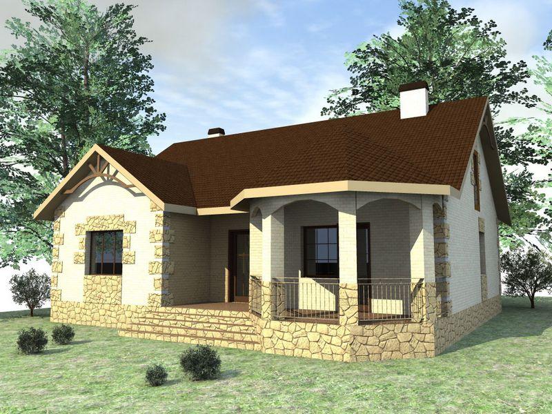 Гарнет B-127. Проект одноэтажного дома на три спальни, с террасой