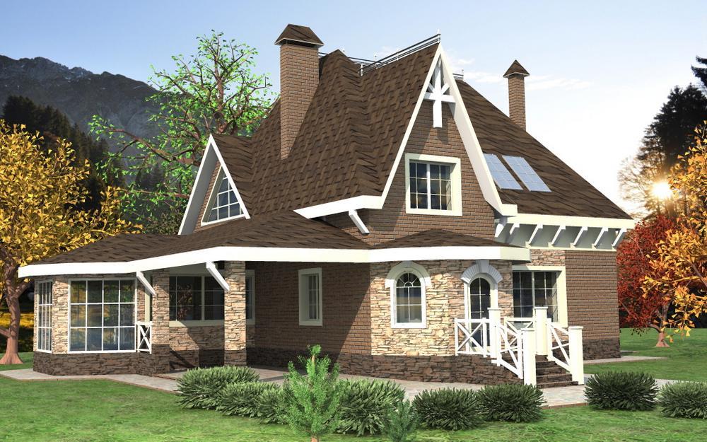 Гарольд E-052. Проект мансардного коттеджа на 5 спален, с остекленной террасой и навесом для автомобиля