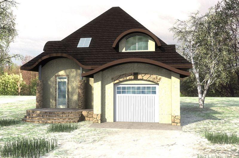 Гастон C-159. Проект 1-этажного дома с мансардой и гаражом, на 3 спальни