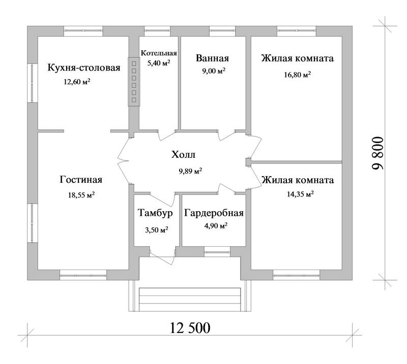 Гейзер A-060. Проект простого одноэтажного дома на 2 спальни