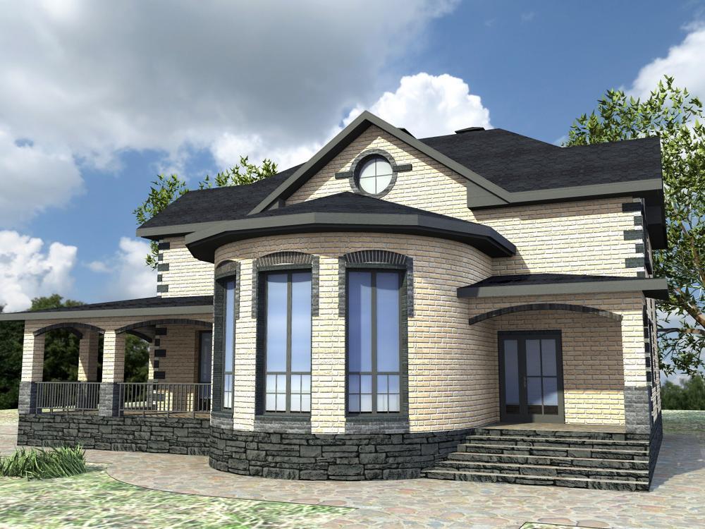 Геракл E-054. Проект двухэтажного дома с цокольным этажом, на 4 спальни, с бильярдной и террасой