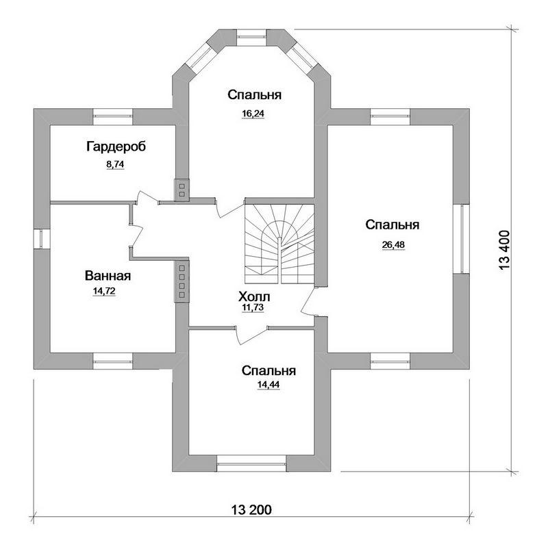 Гетсби C-133. Проект мансардного коттеджа на 3 спальни, с эркером и террасой