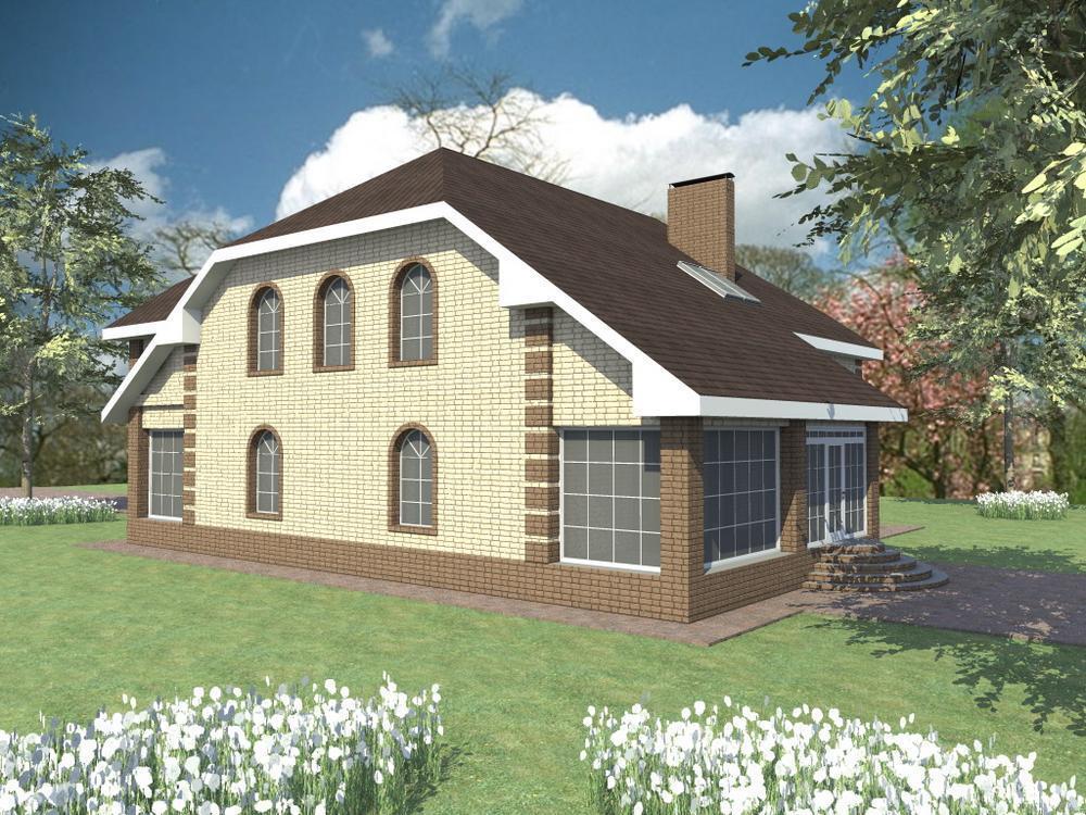 Гёте F-043. Проект дома с мансардой, двумя террасами, тренажерным залом, на 3 спальни