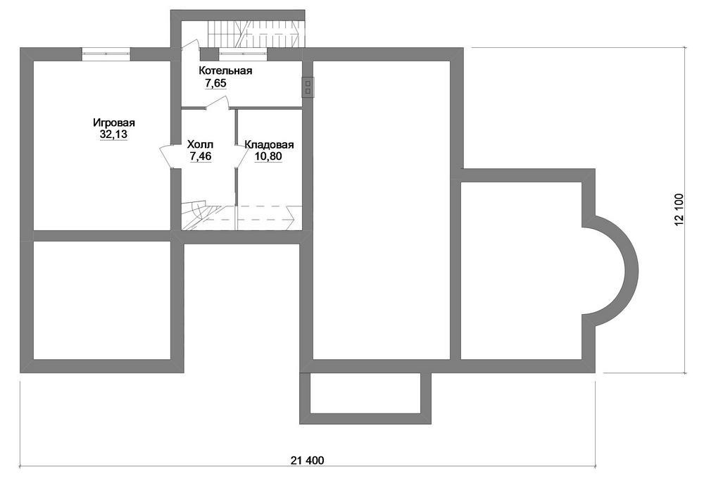 Глобус E-049. Проект одноэтажного дома с цокольным этажом, террасой, на 3 спальни