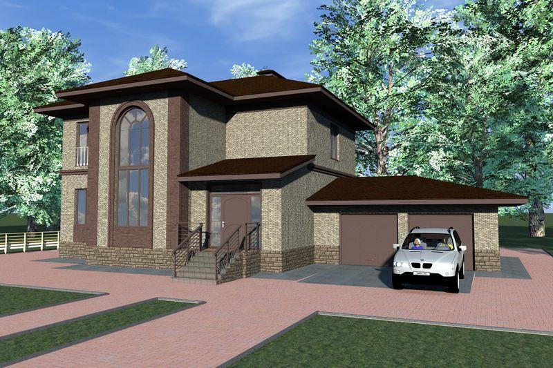 Глостер E-030. Проект двухэтажного дома с террасой и гаражом, на 4 спальни