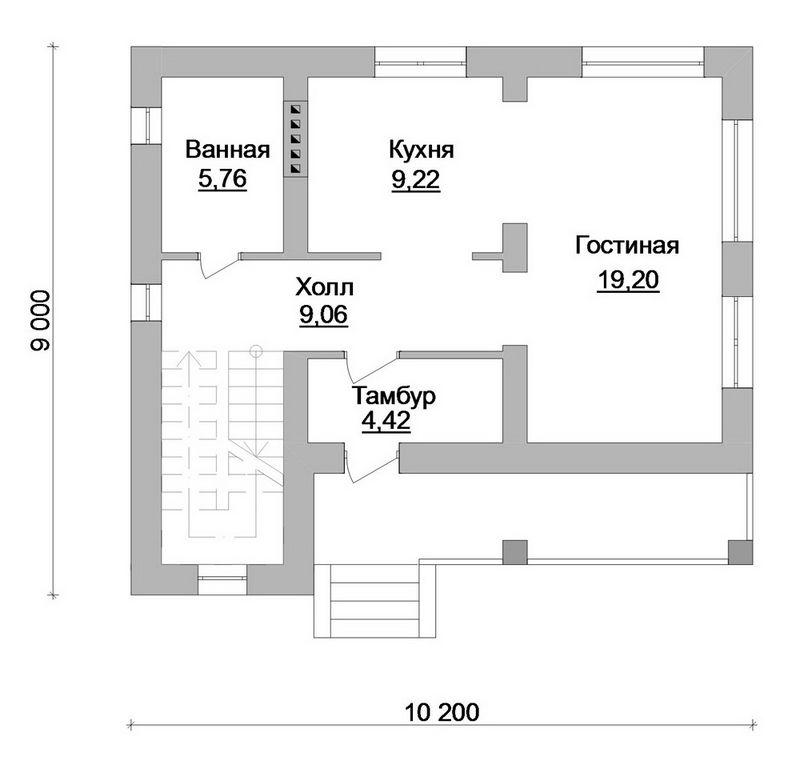 Горицвет B-152. Проект мансардного дома на 2 спальни, с террасой