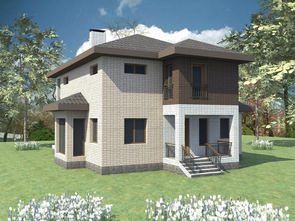 Горностай C-090. Проект двухэтажного дома с четырьмя спальнями и террасой