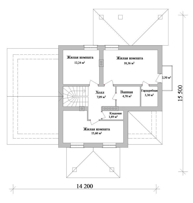 Говард C-214. Проект дома с мансардой, на 4 спальни, с террасой и пристроенным гаражом