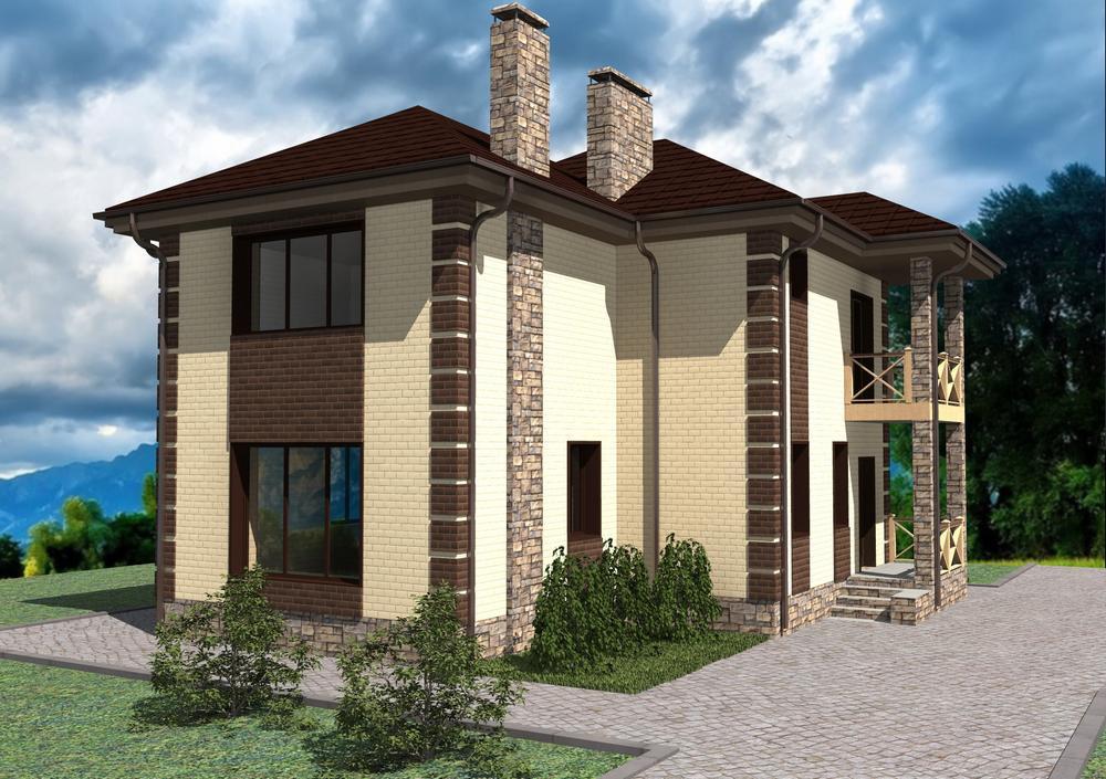 Град B-202. Проект двухэтажного дома с 2 спальнями, кабинетом и балконом