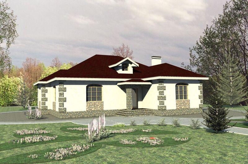 ГРАДА B-126. Проект одноэтажного дома на 3 спальни, с мезонином