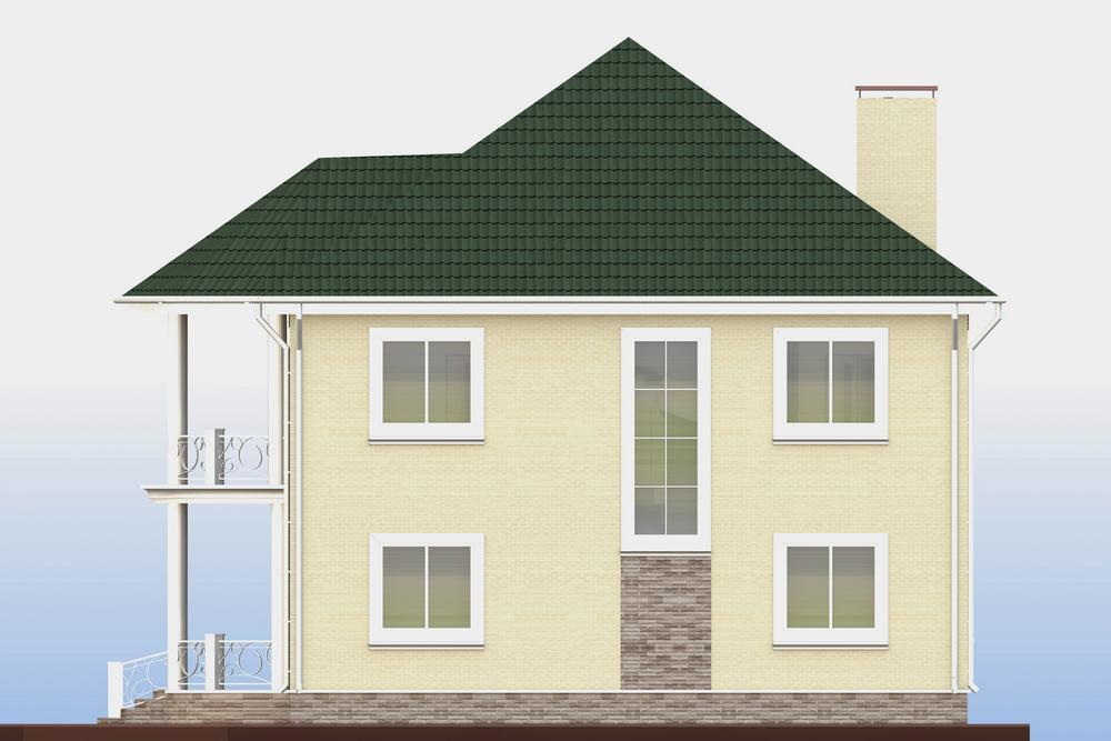 Граф D-108. Проект двухэтажного дома с 3 спальнями, кабинетом, эркерным балконом и террасой
